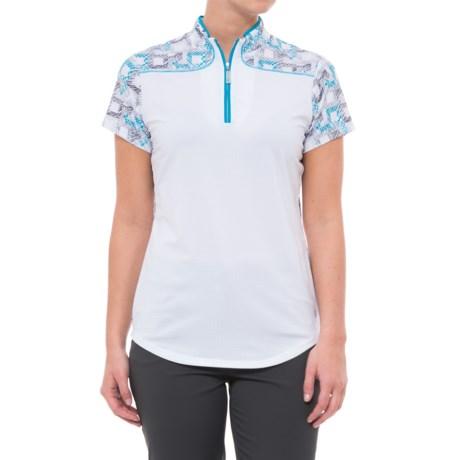 Bette & Court Blue My Mind Daydream Golf Polo Shirt - UPF 50, Short Sleeve (For Women) in White