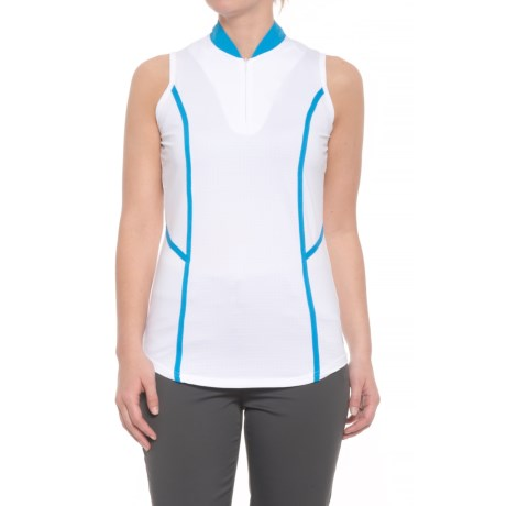 Bette & Court Blue My Mind Essence Golf Polo Shirt - UPF 50, Zip Neck, Sleeveless (For Women) in White