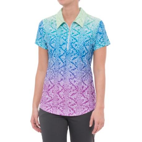 Bette & Court Cobra Printed Golf Polo Shirt - UPF 50, Zip Neck, Short Sleeve (For Women) in Multi Skin