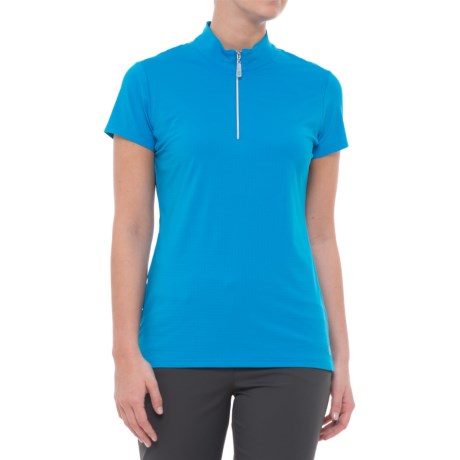 Bette & Court Cool Elements Swing Golf Shirt - UPF 50, Zip Neck, Short Sleeve (For Women) in Electric Blue