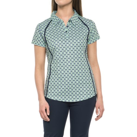 Bette & Court Green Come True Buckle Printed Polo Shirt - UPF 50+, Short Sleeve (For Women) in Apple