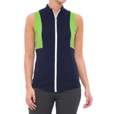Bette & Court Green Come True Golf Polo Shirt - UPF 50, Zip Neck, Sleeveless (For Women) in Pacific