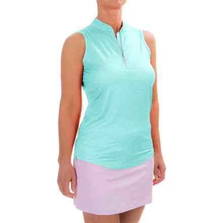 Bette & Court Printed Energy Shirt - UPF 50, Zip Neck, Sleeveless (For Women) in Calypso - Closeouts