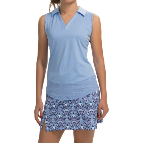 Bette and Court Shift Solid Polo Shirt Sleeveless (For Women)