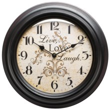 "Better Homes & Gardens Live Love Laugh Wall Clock - 11.75"" in Antique Black - Closeouts"