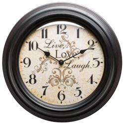 "Better Homes & Gardens Live Love Laugh Wall Clock - 11.75"" in Antique Black"