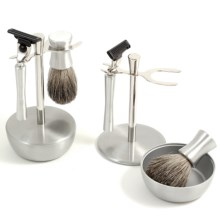 Bey-Berk International Mach 3 Razor, Pure Badger Brush and Stand Set - Chrome and Stainless Steel, 3-Piece in Chrome/Stainless Steel - Closeouts