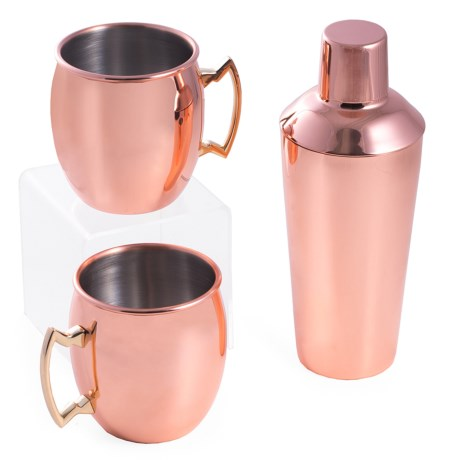 Bey-Berk International Moscow Mule Cup and Shaker Set - 3-Piece in Copper