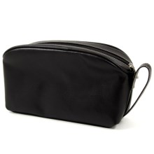 Bey-Berk International Toiletry Bag - Leather in Black - Closeouts