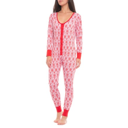 BHPJ by BedHead Soft Knit Button Front Onesie - Long Sleeve (For Women) in e966c2984