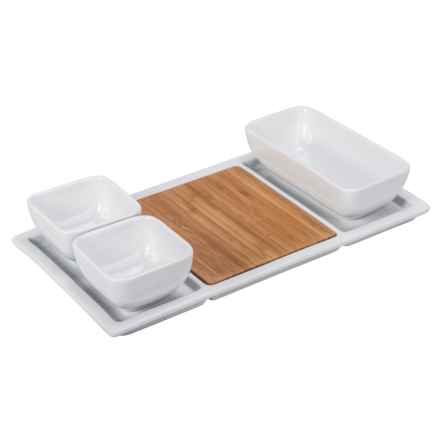 "BIA Cordon Bleu Bamboo and Porcelain Appetizer Set - 13"" in Bamboo/White - Closeouts"
