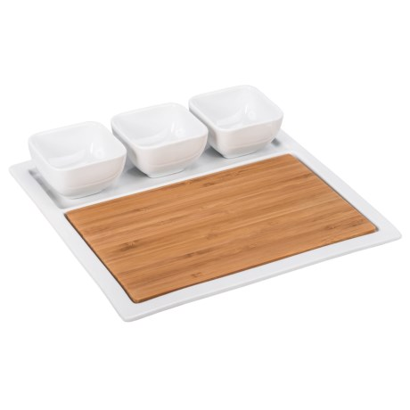"BIA Cordon Bleu Bamboo and Porcelain Square Appetizer Set - 11"" in Bamboo/White"