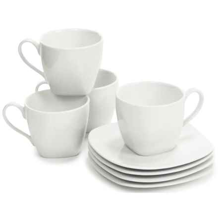 BIA Cordon Bleu Epoch Porcelain Soft Square Cups and Saucers - Set of 4 Each in White - Closeouts