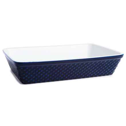 "BIA Cordon Bleu Hobnail Rectangle Porcelain Baker - 9x12-3/4"" in Cobalt - Closeouts"