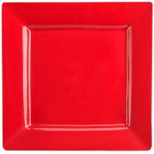 BIA Cordon Bleu Porcelain Square Rim Plate in Red - Closeouts