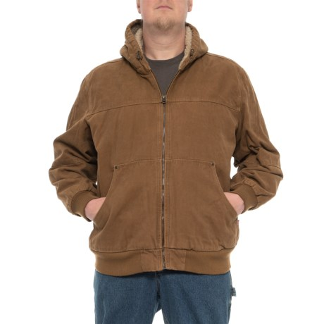 Image of Big and Tall Canvas Workwear Hooded Bomber Jacket (For Men)