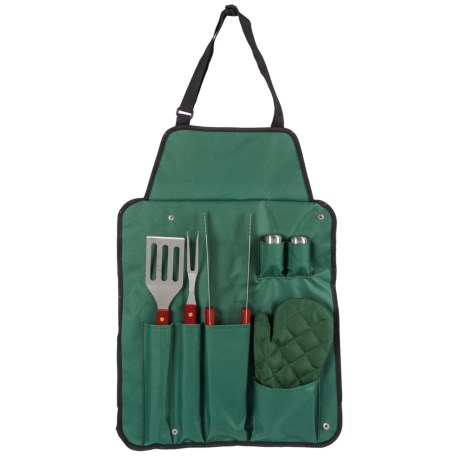 Big Backyard Barbecue Apron Set - 7-Piece in Forest Green