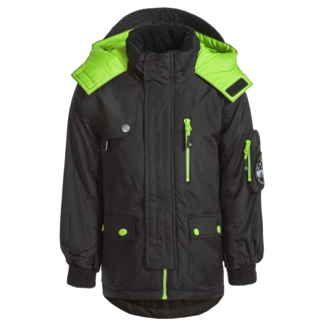Big Chill Arctic Expedition Jacket - Insulated (For Little Boys) in Black/Neon Green