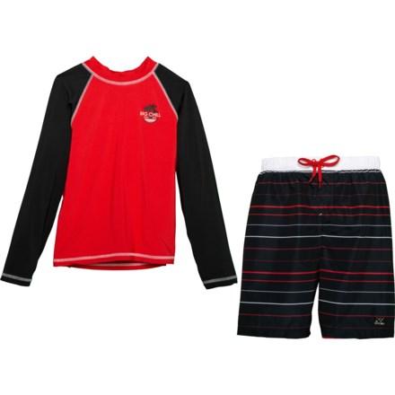 13d70438eb Big Chill Black Rash Guard and Swim Trunks Set - UPF 50, Long Sleeve (
