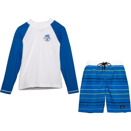 e6beb5b6b7 Big Chill Blue Rash Guard and Swim Trunks Set - UPF 50, Long Sleeve (