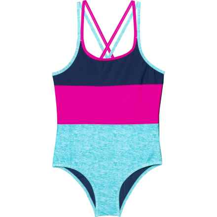 Big Chill Color-Block One-Piece Swimsuit - UPF 50 (For Big Girls) in Navy - Closeouts