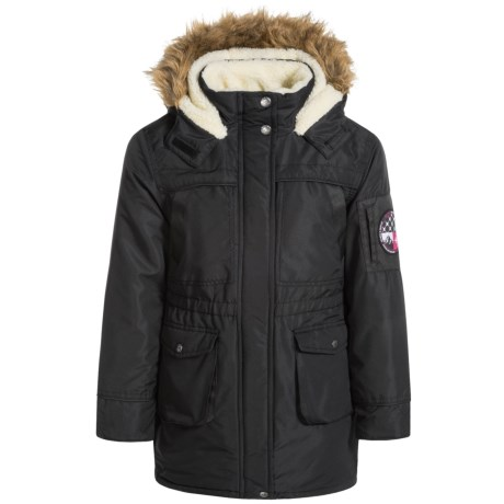 Big Chill Fleece-Lined Long Jacket - Insulated (For Big Girls) in Black