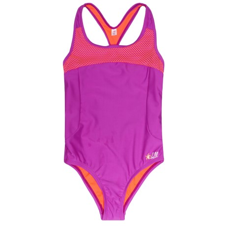 Big Chill Mesh-Trimmed One-Piece Swimsuit - UPF 50 (For Little Girls) in Purple Flower