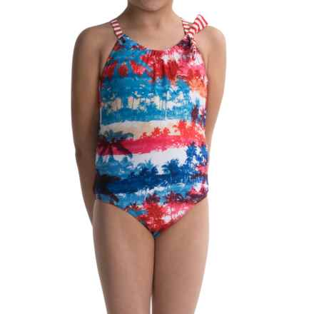 Big Chill Palm One-Piece Swimsuit - Fully Lined (For Big Girls) in Red - Closeouts