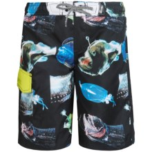 Big Chill Printed Boardshorts - UPF 50 (For Big Boys) in Black/Mean Fish - Closeouts