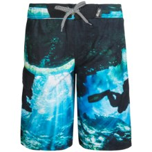 Big Chill Printed Boardshorts - UPF 50 (For Big Boys) in Black Water Divers - Closeouts