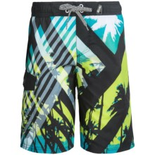 Big Chill Printed Boardshorts - UPF 50 (For Big Boys) in Mantis - Closeouts