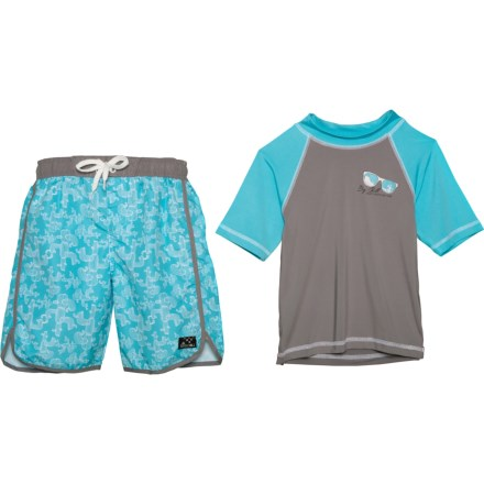 ed28dc3ae5 Big Chill Rash Guard and Printed Swim Trunks Set - UPF 50, Short Sleeve (