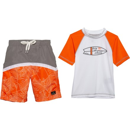 302434ab4b Big Chill Rash Guard and Swim Trunks Set - UPF 50, Short Sleeve (For