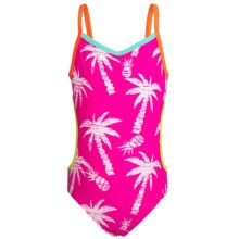 Big Chill Ruffled One-Piece Monokini Swimsuit - UPF 50+ (For Little Girls) in Pink Glo Palm - Closeouts