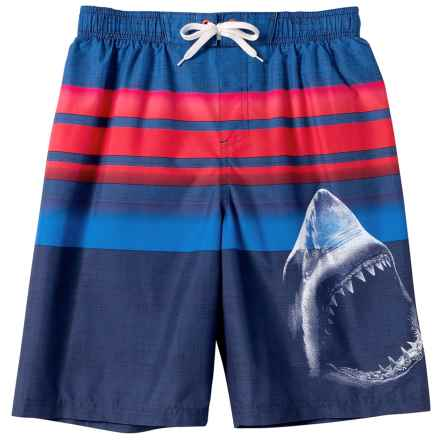 Big Chill Shark Swim Trunks - UPF 50, Built-In Mesh Briefs (For Little Boys) in Navy - Closeouts