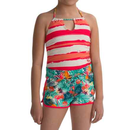 Big Chill Swimsuit and Swim Short Set (For Big Girls) in Coral - Closeouts