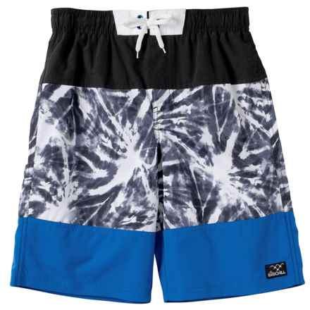 Big Chill Tie-Dye Swim Trunks - UPF 50 (For Big Boys) in Black - Closeouts