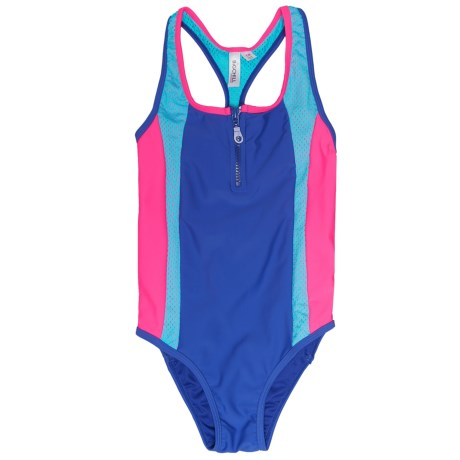 Big Chill Zipper One-Piece Swimsuit - UPF 50 (For Little Girls) in Dazzling Blue