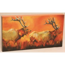 "Big Sky Carvers Elk Pair Visual Edge Wall Art - 18x10"" in Elk - Closeouts"