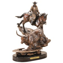 """Big Sky Carvers Marc Pierce """"Last One"""" Cowboy and Longhorn Sculpture in See Photo - Closeouts"""