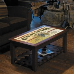 Big Sky Carvers Meissenburg Coffee Table in Rustic Brown/Welcome Moose