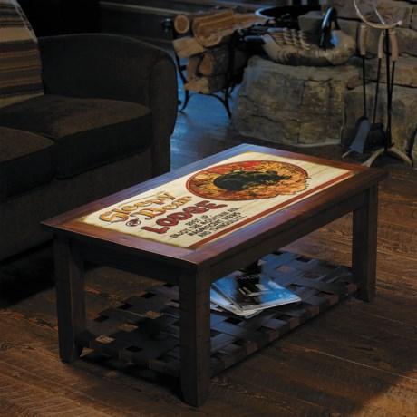 Big Sky Carvers Meissenburg Coffee Table in Rustic Brown/Welcome Moose