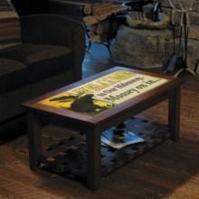 Big Sky Carvers Meissenburg Coffee Table in Rustic Brown/Welcome Moose - Closeouts