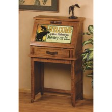 Big Sky Carvers Meissenburg Secretary Desk in Rustic Brown/Welcome Moose - Closeouts