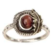 Big Sky Silver Falling Leaf Ring (For Women) in Silver/Brass/Red Tiger Eye - Closeouts