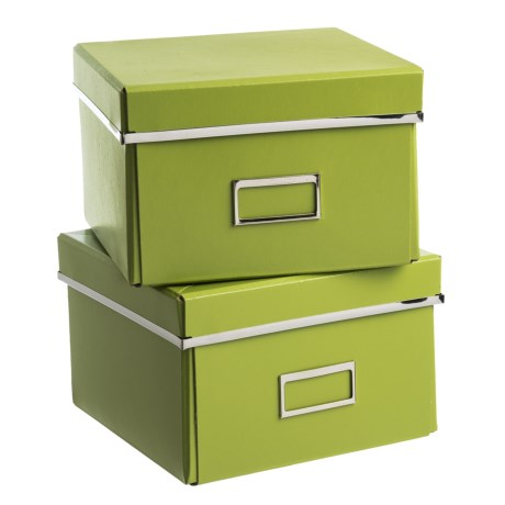 """Bigso Felicia Knock-Down Storage Boxes - 8.7x8.3x5.7"""", Set of 2 in Green"""