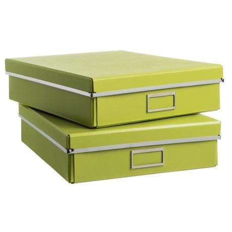 "Bigso Filip Knock-Down Storage Boxes - 14x11.2x3.3"", Set of 2 in Green"