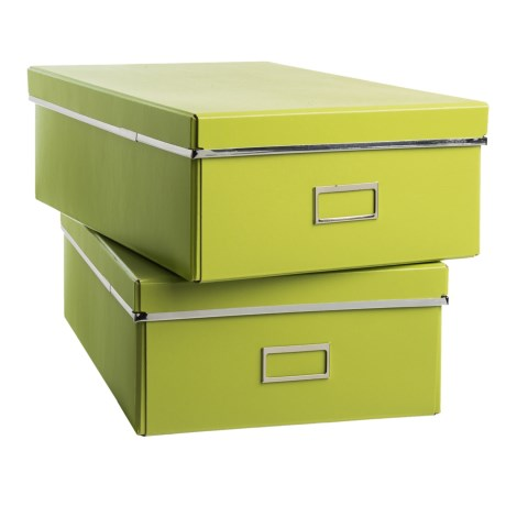 """Bigso Fred Knock-Down Storage Boxes - 18.5x11x5.9"""", Set of 2 in Green"""