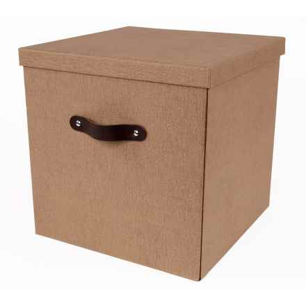 """Bigso Texas Knock Down Lidded Storage Box - 12x12x12"""" in Brown Canvas - Closeouts"""