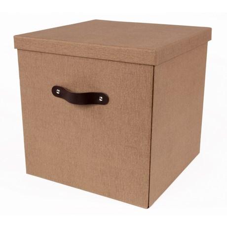 "Bigso Texas Knock Down Lidded Storage Box - 12x12x12"" in Brown Canvas"